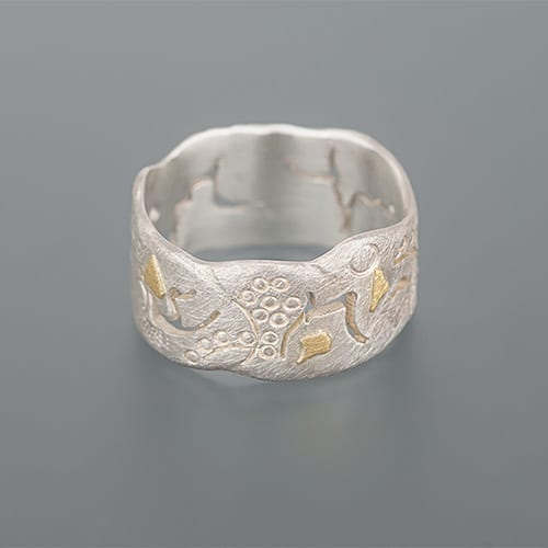 weidenthaler - Ring with sawing patterns, hallmarks and cuts - 303J14P135 1