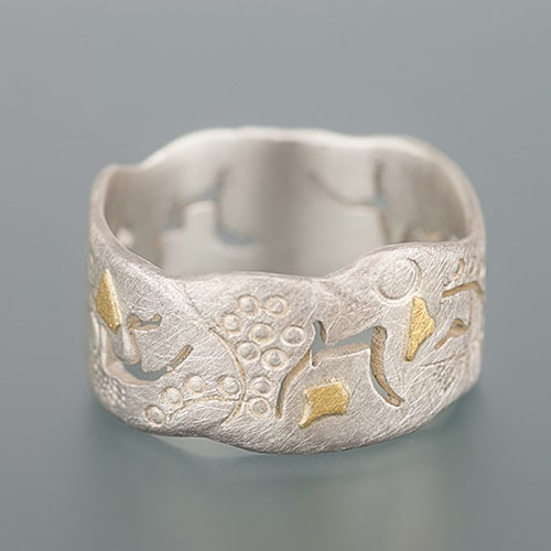 weidenthaler - Ring with sawing patterns, hallmarks and cuts - 303J14P135 3