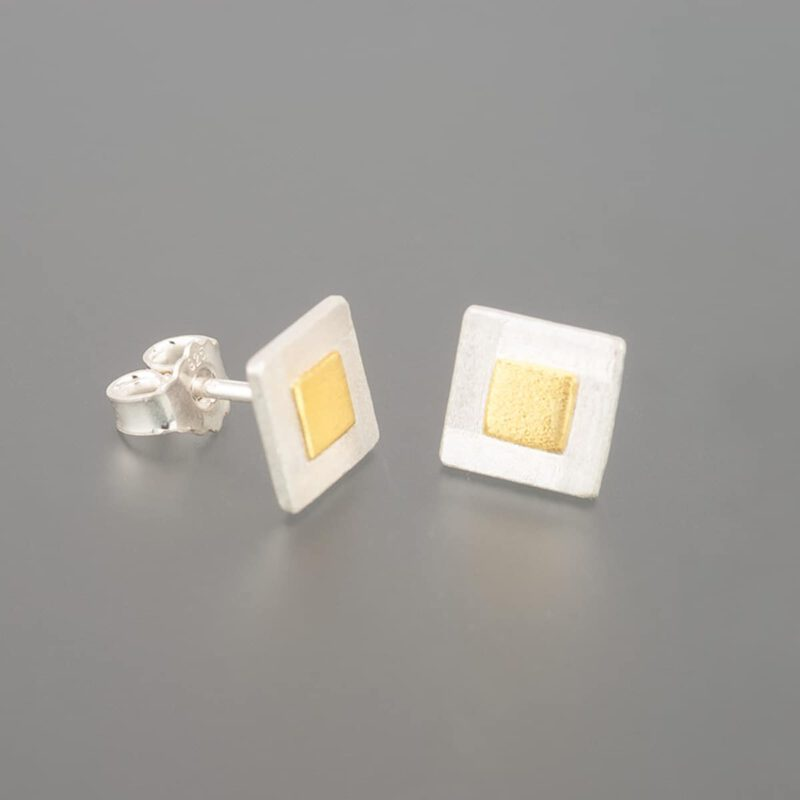 weidenthaler - Stud earrings with fine gold squares - 506A00P55 2 1